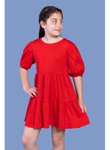 Toontoy Kids Toontoy Kız Çocuk Arkası Bağlama Detaylı Balon Kol Elbise Kırmızı
